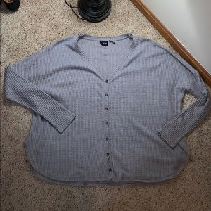 UO Oversized Button Down Gray Thermal - Size L